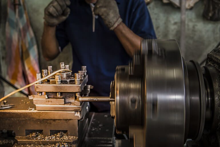 Lathe machine in a Retro workshop