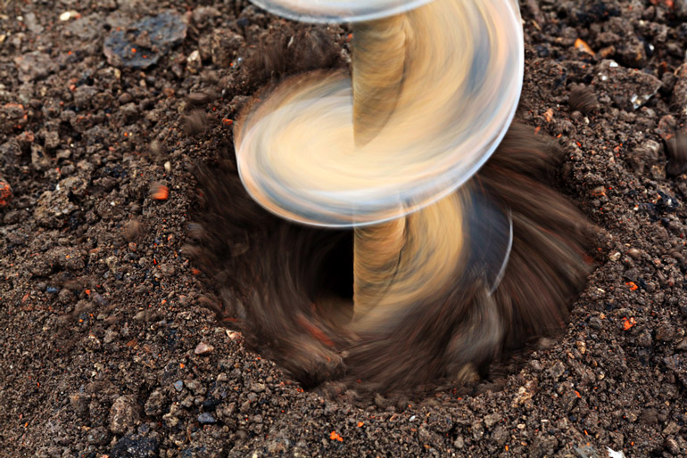 drilling soil close up