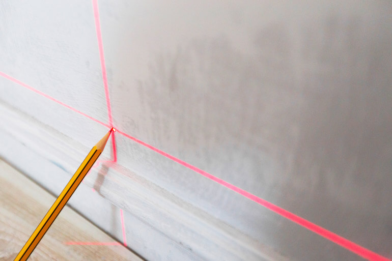 pencil mark with laser measure