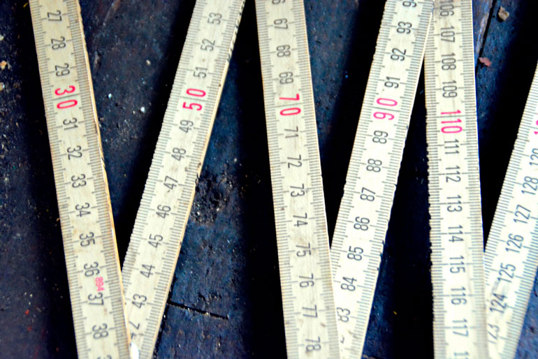 wooden measuring stick close up